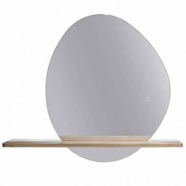 Espejo con luz y repisa en madera de roble macizo Komercia
