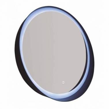 Espejo redondo con luz Led en color blanco mate con estante Komercia