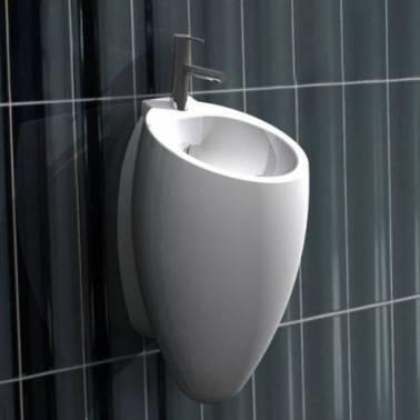 Monomando de lavabo negro con válvula clic-clac para lavabo Egg Valadares
