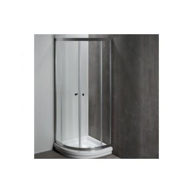 Mampara angular en color cromo para plato de ducha de 75x75 mm modelo Moraira marca Unisan