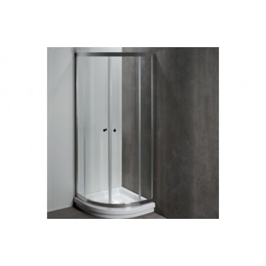 Mampara angular en color cromo para plato de ducha de 80x80 mm modelo Moraira marca Unisan