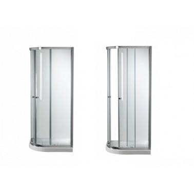 Mampara angular reversible blanca para plato de ducha de 90x70 mm modelo Moraira marca Unisan