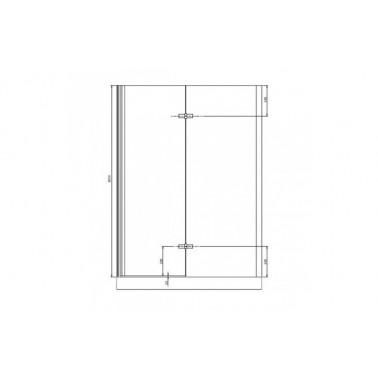 Perfil rectangular cromo para puerta de cristal derecha de 140 mm marca Unisan