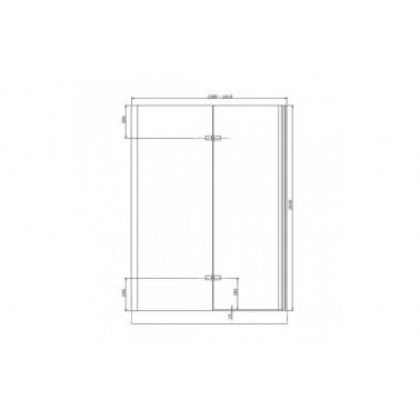 Perfil rectangular cromo para puerta de cristal izquierda de 140 mm marca Unisan