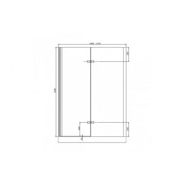 Perfil rectangular cromo para puerta de cristal para encastar derecha de 140 mm marca Unisan