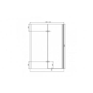 Perfil rectangular cromo para puerta de cristal para encastar izquierda de 140 mm marca Unisan