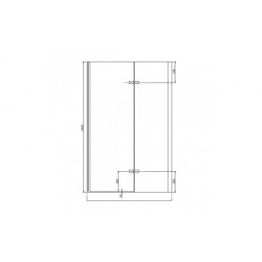 Perfil rectangular cromo para puerta de cristal para encastar derecha de 120 mm marca Unisan