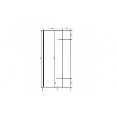 Perfil rectangular blanco para puerta de cristal derecha de 90 mm marca Unisan