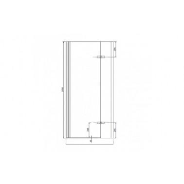 Perfil rectangular cromo para puerta de cristal para encastar derecha de 90 mm marca Unisan
