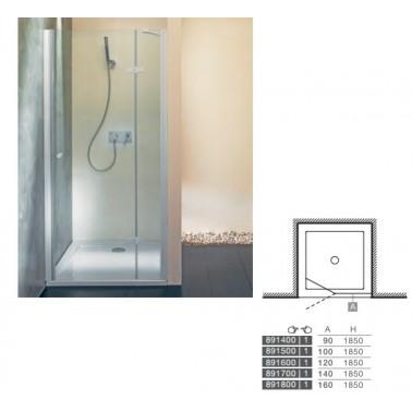 Perfil rectangular cromo para puerta de cristal para encastar izquierda de 90 mm marca Unisan
