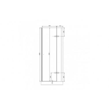 Perfil rectangular blanco para puerta de cristal derecha de 75 mm marca Unisan