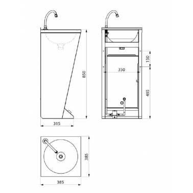 Fuente de agua fabricada en acero inoxidable medidas