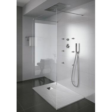 Plato de ducha con acabado anti-bacterias y textura piedra de 110x90 mm modelo Marina marca Unisan