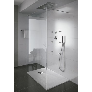 Plato de ducha con acabado anti-bacterias y textura piedra de 110x100 mm modelo Marina marca Unisan