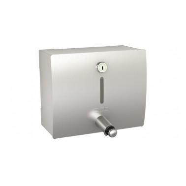 Dosificador de jabón horizontal con montaje a pared acabado satinado modelo STRATOS marca Franke