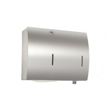 Conjunto de dispensador de toallas y jabón en acero inoxidable acabado satinado modelo STRATOS marca Franke