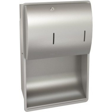 Conjunto de dispensador de toallas y jabón empotrado de acero inoxidable modelo STRATOS marca Franke