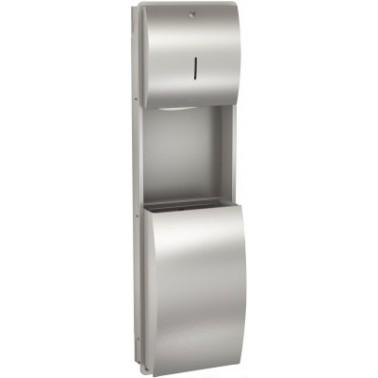 Conjunto de dispensador de toallas y papelera empotrado de acero inoxidable modelo STRATOS marca Franke