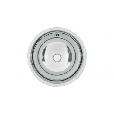 Lavabo semiesférico fabricado en acero acabado brillo de 380mm de diámetro modelo RONDO marca Franke