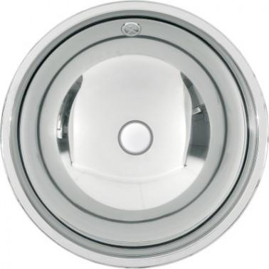 Lavabo semiesférico fabricado en acero acabado brillo de 418mm de diámetro modelo RONDO marca Franke