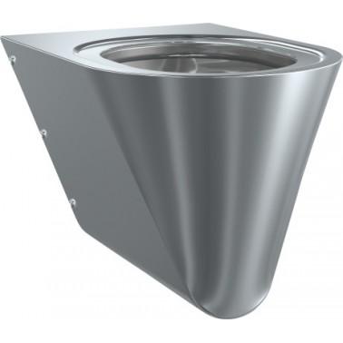 Inodoro a pared suspendido fabricado en acero de cromo-níquel con asiento en color negro marca Franke