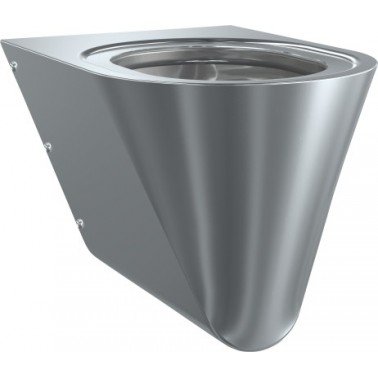 Inodoro a pared suspendido fabricado en acero de cromo-níquel con asiento en color blanco marca Franke