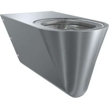 Inodoro a pared suspendido para minusválidos de acero de cromo-níquel con asiento negro marca Franke