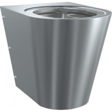 Inodoro a suelo suspendido fabricado en acero de cromo-níquel con asiento de semi-luna marca Franke