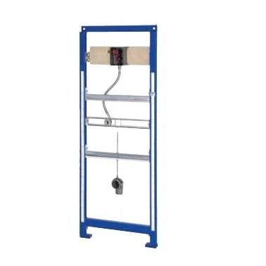 Bastidor para urinarios de acero inoxidable con grifería de descarga para montaje a pared marca Franke