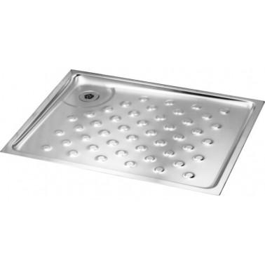 Plato de ducha encastrado de perfil bajo en acero inoxidable satinado de 900x900mm modelo Franke