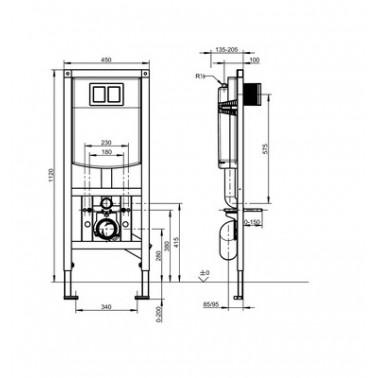 Bastidor Para Inodoros Suspendidos De Minusválidos Con Cisterna Oculta Modelo Aquafix Marca Franke