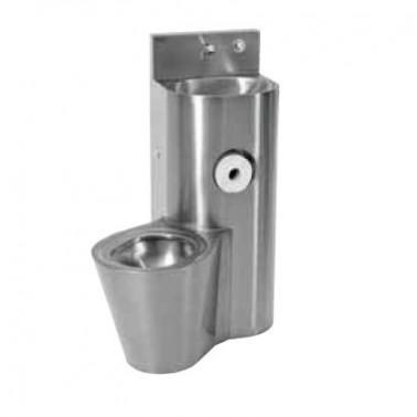Conjunto de lavabo e inodoro en el centro de acero de cromo níquel modelo HEAVY-DUTY marca Franke