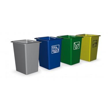 Contenedor de desperdicios y reciclaje de 26 litros en color amarillo Fricosmos