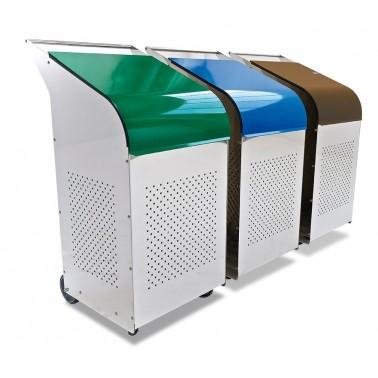 Contenedor para reciclaje de 270 litros en color marrón Fricosmos