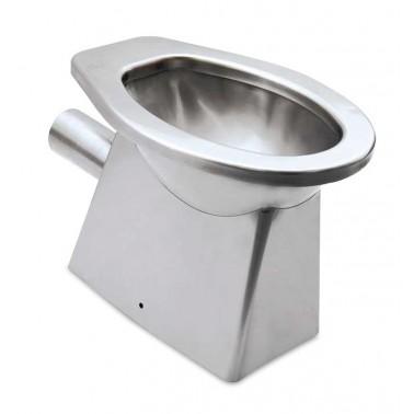 Inodoro fabricado en acero inoxidable con salida a pared de 366x521x390 mm Fricosmos