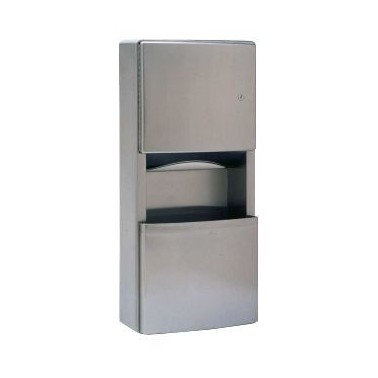 Dispensador de toallas de papel y recipiente de desechos para empotrar de la serie Contura
