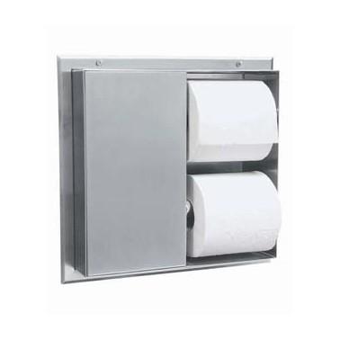 Dispensador de papel higiénico de varios rollos para montar en el tabique divisorio Bobrick