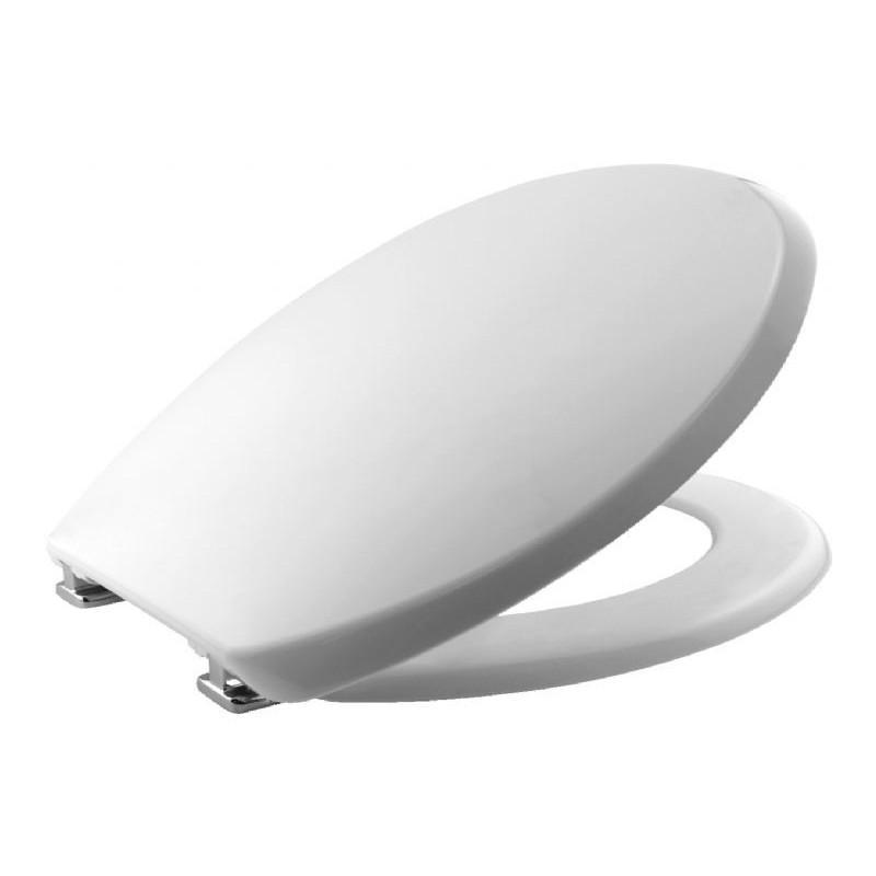Asiento y tapa para inodoro fabricada en termoplástico de color blanco y bisagras cromadas BEMIS