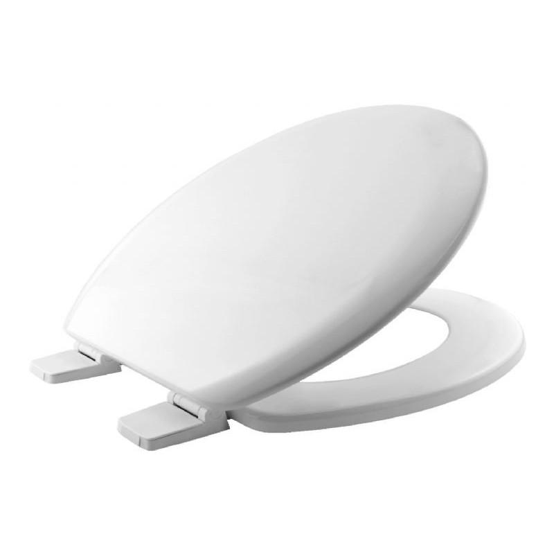 Asiento y tapa para inodoro fabricada en madera prensada y reforzada de color blanco BEMIS