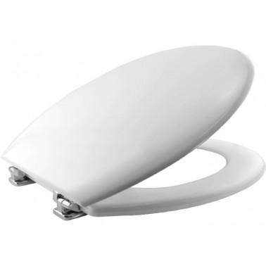 Asiento y tapa para inodoro fabricada en madera prensada blanca con bisagras cromadas ajustables BEMIS