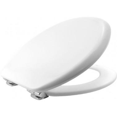 Tapa y asiento para inodoro fabricada en madera prensada blanca con bisagras cromadas ajustables BEMIS