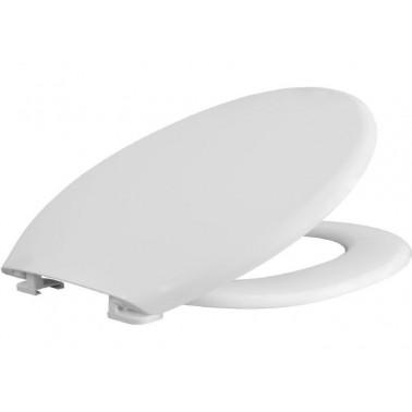 Asiento y tapa para inodoro fabricada en plástico termoestable Durolux en color blanco BEMIS