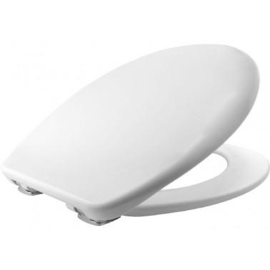 Asiento y tapa para inodoro fabricada en plástico Durolux en color blanco con sitema Silentium BEMIS