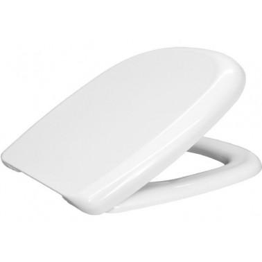 Asiento y tapa para inodoro fabricada en plástico termoestable Durolux de forma especial en color blanco BEMIS