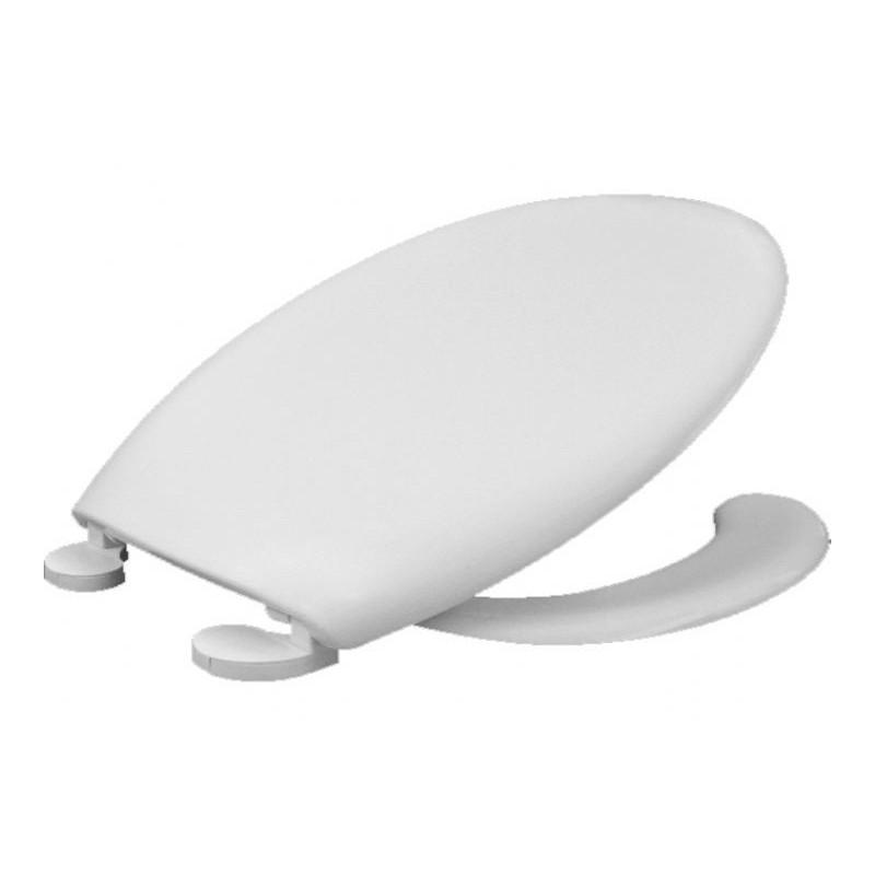 Asiento y tapa con abertura frontal fabricada en plástico termoestable Durolux de color blanco BEMIS