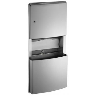 Dispensador de papel con contenedor de residuos desmontable de acero inoxidable marca ASI