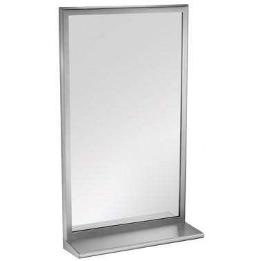 Espejo de acero inoxidable con estante incorporado marca ASI
