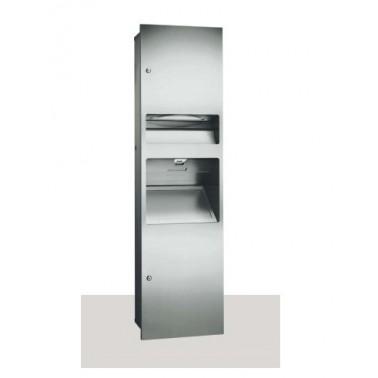 Dispensador de papel con contenedor de residuos y secador de manos de acero inoxidable satinado marca ASI