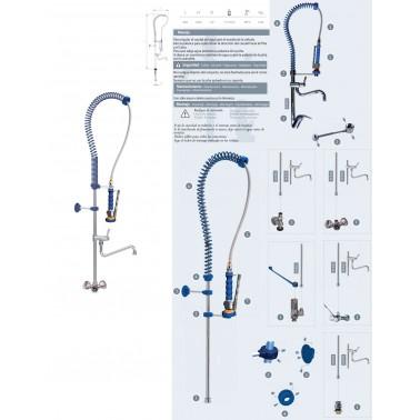 Grifo ducha profesional para sobremesa de dos agua compuesto Komercia