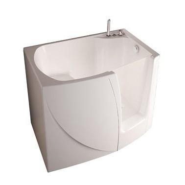Geriatric bathtub made of fiberglass and stainless steel